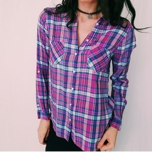 Joie plaid button up top pink and blue -C6